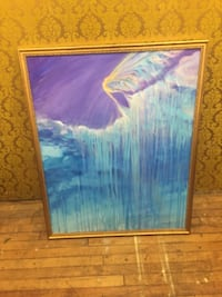 abstract painting with gold frame