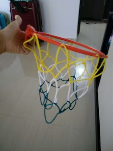 yellow, white, blue and red basketball hoop