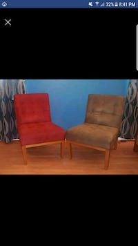 two red suede sofa chairs Las Vegas, 89144