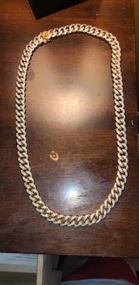 Cuban Link 10k Gold filled chain  with 1.25 karat lab made diamonds. Centreville, 20120