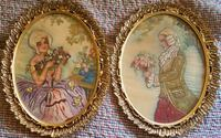 TWO Framed Embroidered Paintings of 18th C. Lovers Washington