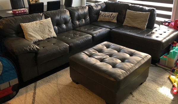 Amazing Grey Leather Sectional Sofa With Ottoman Gmtry Best Dining Table And Chair Ideas Images Gmtryco