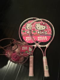 Brand new hello Kitty child tennis rackets and bag of 12 hello Kitty pink tennis balls Los Angeles, 90046