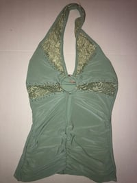 Green Low-Cut Halter Club Lace Shirt Size XS-S