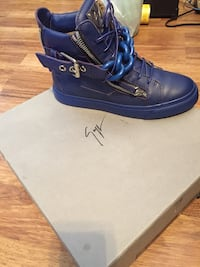 Blue leather high top shoe with zipper