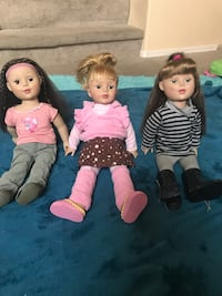Our Generation Dolls, 8 outfits and hospital set $35.  See other post for camper, Jeep, horse, bed, dining set $75 Phoenix, 85032