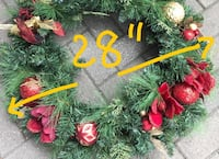 """Large decorative christmas wreath - like new - 28"""" beautiful wreath mint condition / used as prop in a tv series.  made by kirkland, these sell for over $45. located downtown near dvp"""