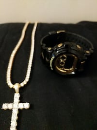 silver rosary and black chronograph watch with bla Temple Hills, 20748
