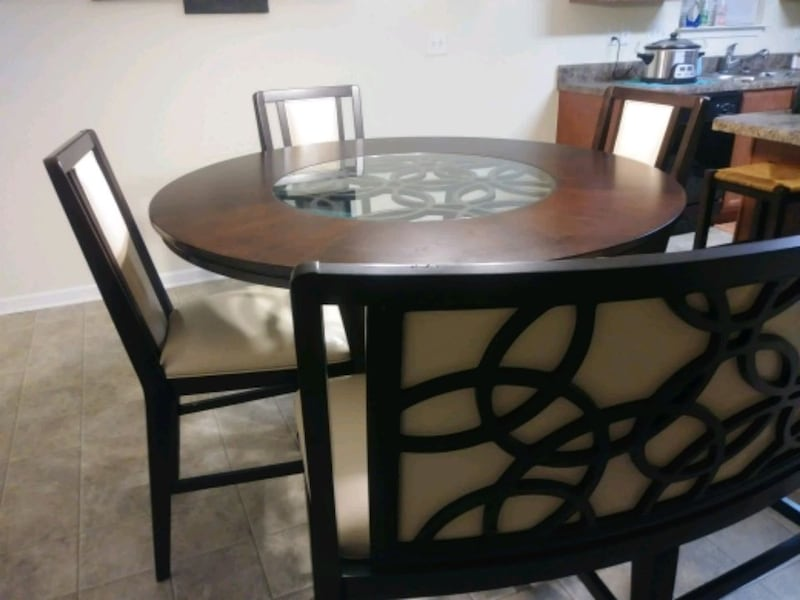 Tall dining table w/bench & 3 chairs ff64802f-f8c7-4d5f-a9d8-eced03eb845c