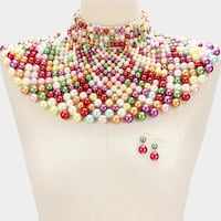 Assorted color of pearls bib necklace and hook earrings Upper Marlboro, 20774