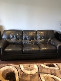 2 brown soft leather sofas