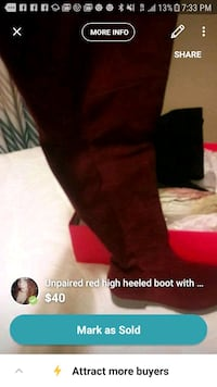 unpaired red suede round toe stockman heeled thigh-high boot screenshot 210 mi