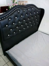 black leather tufted bed headboard Glendale