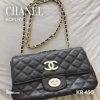 Quiltet svart Chanel lær-crossbody bag Oslo, 0379