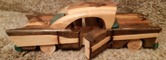 "Cuba Hand Carved Wood Wooden Model Car 1957 Chevy Good Condition  9"" l"