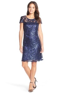 Donna Rico Sequin Illusion Lace Dress (Size 8) Fairfax, 22033