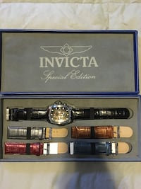 Men's Invicta grand Lupah watch with interchangeable leather bands -multifunction