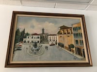 Large vintage Italian street scene oil painting on canvas Toronto, M2R 3N1