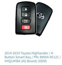2014-2019 Toyota Highlander key fob. Programming and cutting also available . Brampton, L7A 2Z3