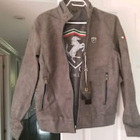 Taupe brown leather zip-up jacket Mississauga, L5L 5J9