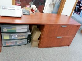 Wood Work Station with 2 Drawer Lateral Cabinet
