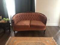 brown wooden framed white padded sofa Vaughan, L4L 2S7