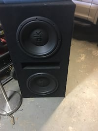 """2 Polk audio Dxi1240 DVC 12"""" subs in a single ported box, subs were used one time and sound amazing. 220obo make an offer"""