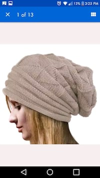 New tan knit toque Montreal, H8T