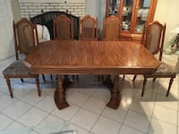 Rectangular brown wooden table with four chairs dining set Montreal, H1P 2L3