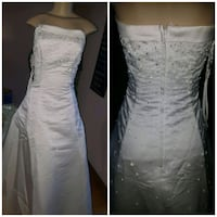 white and silver sequined satin strapless dress Toronto, M9V 4P5