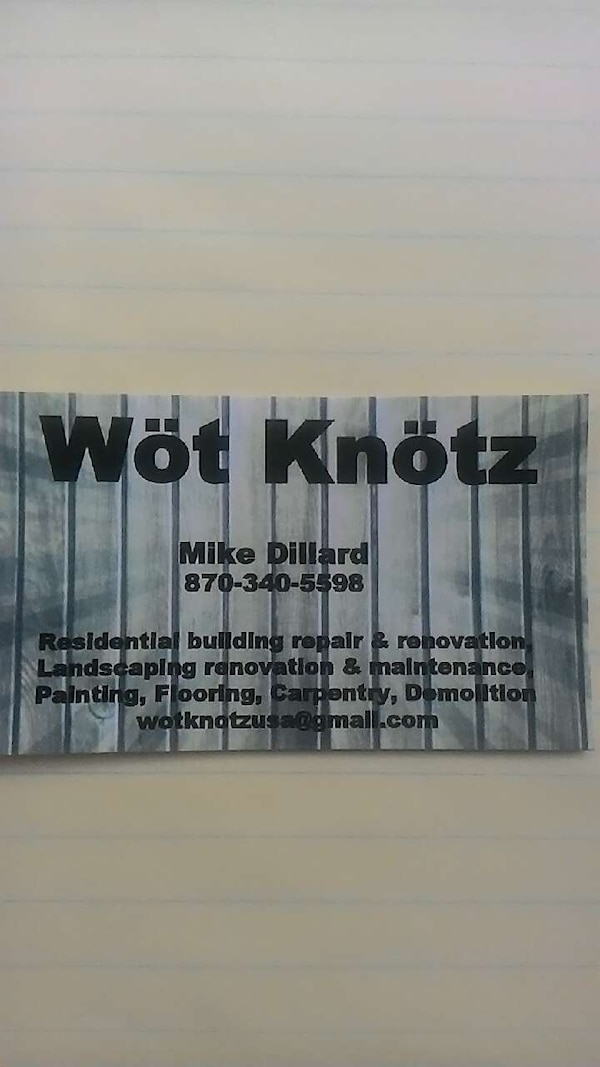 Used wot knotz mike dillard business card for sale in jonesboro letgo wot knotz mike dillard business card reheart Images