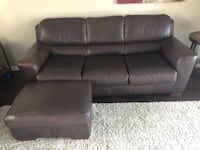 Brown leather couch and ottoman  OCOEE