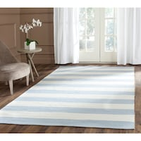 Sky Blue and Ivory Stripe Safavieh Rug NEWYORK
