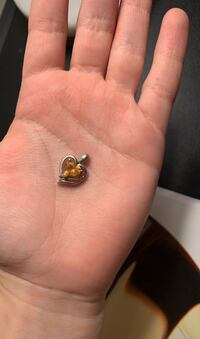Yellow topaz heart charm , silver&yellow gold...November birthstone!! Alexandria, 22314