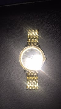 round gold analog watch with gold link bracelet New Haven, 06519