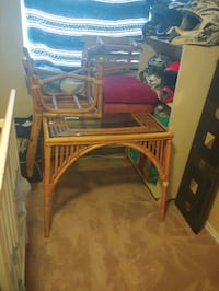 GLASS TOP BAMBOO TABLE AND CHAIRS SET