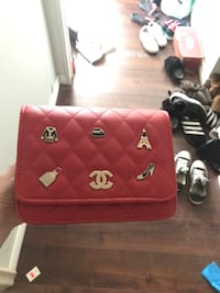 red and brown leather handbag Regina, S4T 2X7