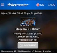 2 billetter til stage dolls og return 6 desember på sentrum scene
