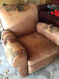 Brown leather patched chair- delivery available Saint Paul, 55102