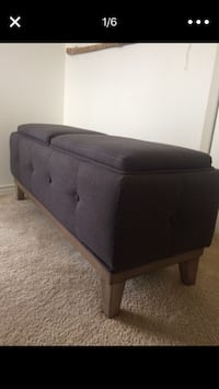 Gray fabric padded ottoman Centreville, 20121