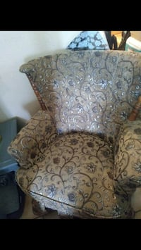 brown and gray floral sofa chair Stockton
