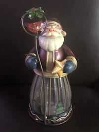"Happy SANTA 8"" Glass Christmas Candle Holder Decanter Orange, 06477"