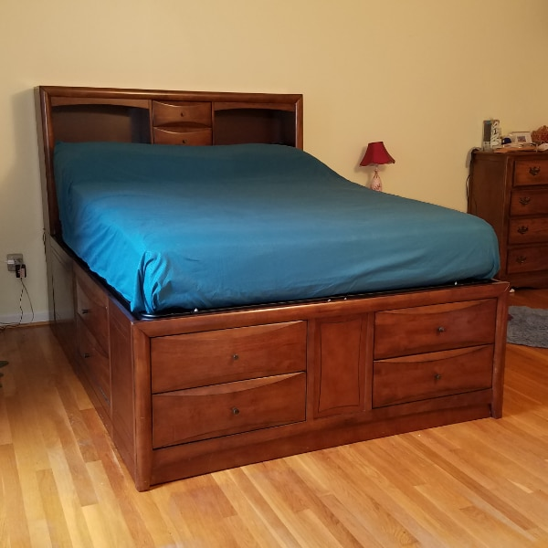 Queen Bed with drawers, captain's bed REDUCED