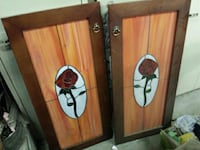 Stain glass wooden floral doors
