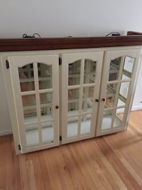 white wooden framed glass display cabinet 40 km