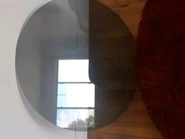 Coffee table glass, round,  verre,