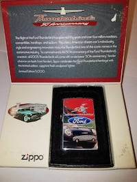 red and black Zippo Ford Thunderbird flip lighter with box San Francisco