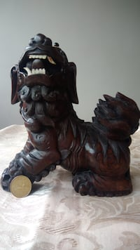 Rare large oriental, Chinese wood carvings with ve Montréal