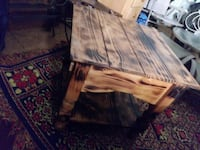 beige and black wooden side table