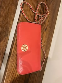 red Tory Burch leather sling bag